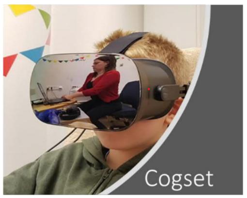 Kuvassa on Cogset-tutkimuksessa k�ytett�v�t VR-lasit vapaaehtoisella tutkimukseen osallistuvalla lapsella.